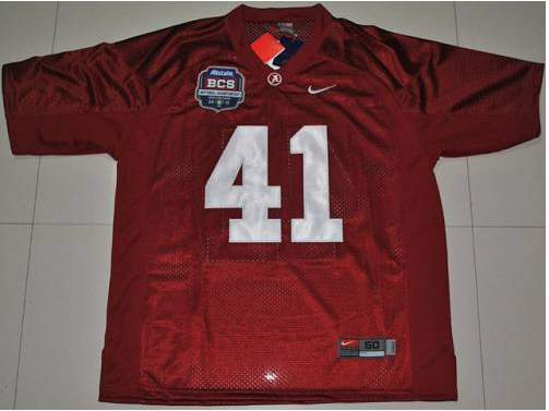 Crimson Tide 41 Courtney Upshaw Red BCS Championship Patch Stitched NCAA Jersey