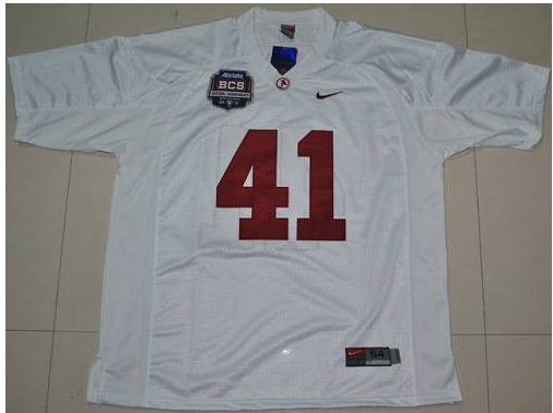 Crimson Tide 41 Courtney Upshaw White BCS Championship Patch Stitched NCAA Jersey