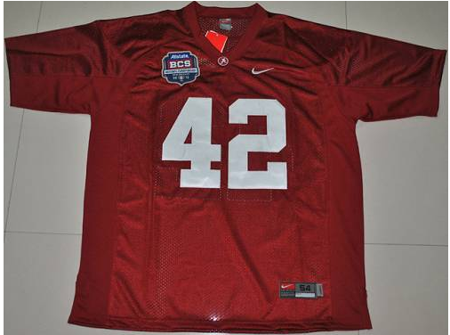 Crimson Tide 42 Eddie Lacy Red BCS Championship Patch Stitched NCAA Jersey
