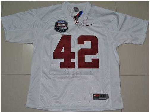 Crimson Tide 42 Eddie Lacy White BCS Championship Patch Stitched NCAA Jersey