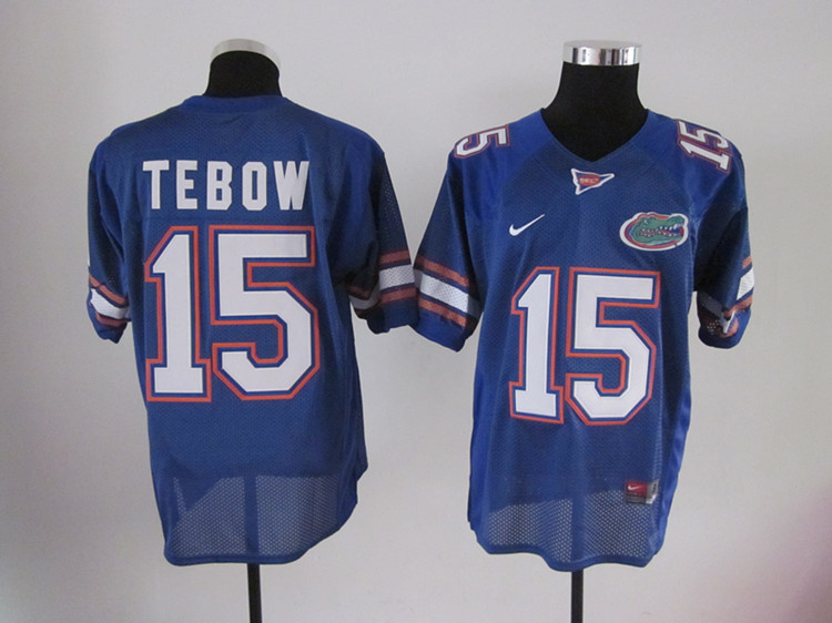 Florida Gators 15 Tim Tebow blue color football jerseys