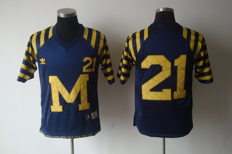 Michigan Wolverines 21 Desmond Howard Blue Stitching NCAA