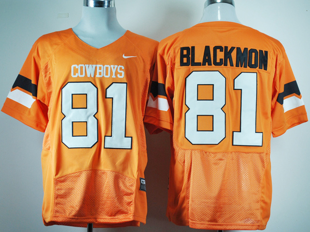 NCAA Oklahoma State Cowboys 81 Justin Blackmon Orange Jersey