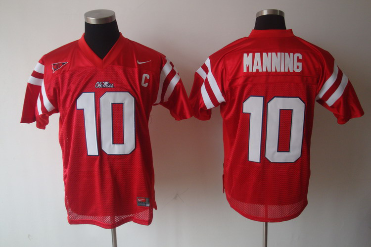 NCAA Ole Miss Rebels 10 Eli Manning Red Jersey