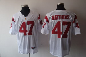 NCAA USC Trojans 47 Clay Matthews football white jersey