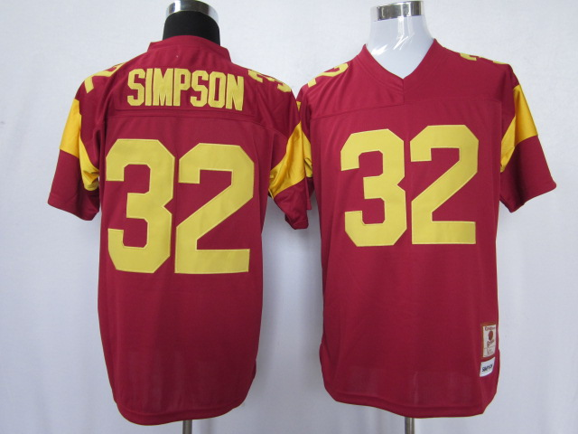NCAA USC trojans 32 O.J Simpson red color jersey