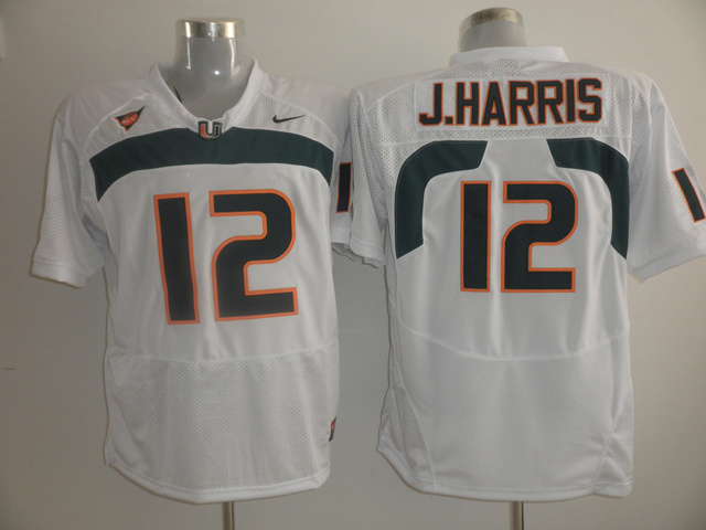 Nike Miami Hurricanes 12 Jacory Harris White