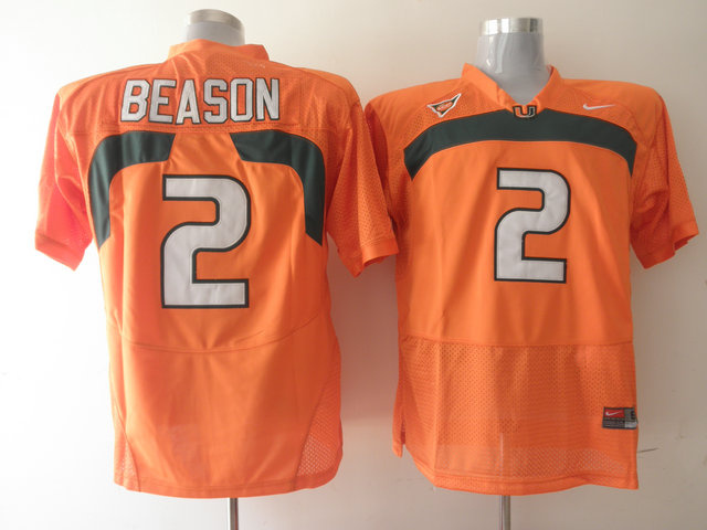Nike NCAA Miami Hurricanes 2 Jon Beason Orange