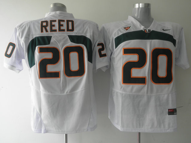 Nike NCAA Miami Hurricanes 20 Ed Reed white.