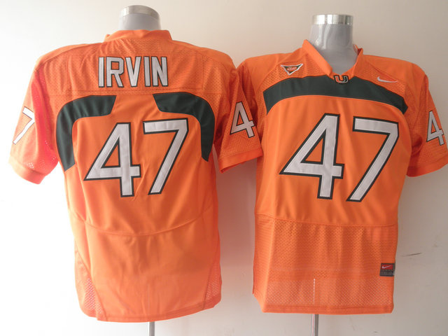 Nike NCAA Miami Hurricanes 47 Michael Irvin orange