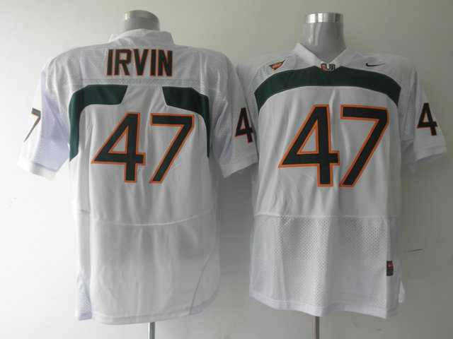 Nike NCAA Miami Hurricanes 47Michael Irvin white