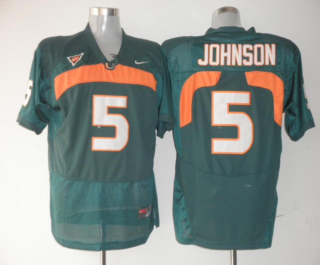 Nike NCAA Miami Hurricanes 5 Andre Johnson green