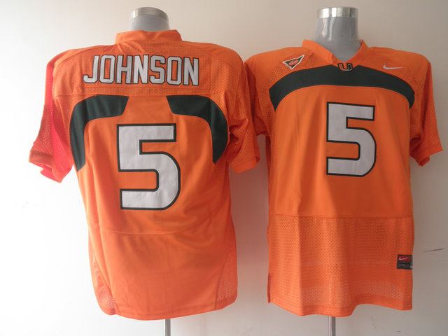 Nike NCAA Miami Hurricanes 5 Andre Johnson orange