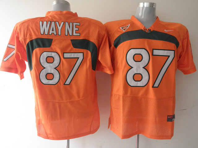 Nike NCAA Miami Hurricanes 87 Reggie Wayne orange