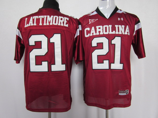 South Carolina Gamecocks 21 Marcus Lattimore red color jersey