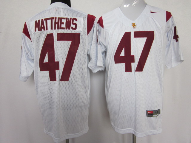 USC trojans 47 Clay Matthews white color jersey