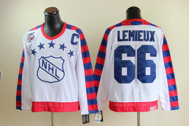 NHL All Star Pittsburgh Penguins 66 Mario Lemieux White jerseys