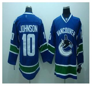 vancouver canucks 10 johnson blue jersey